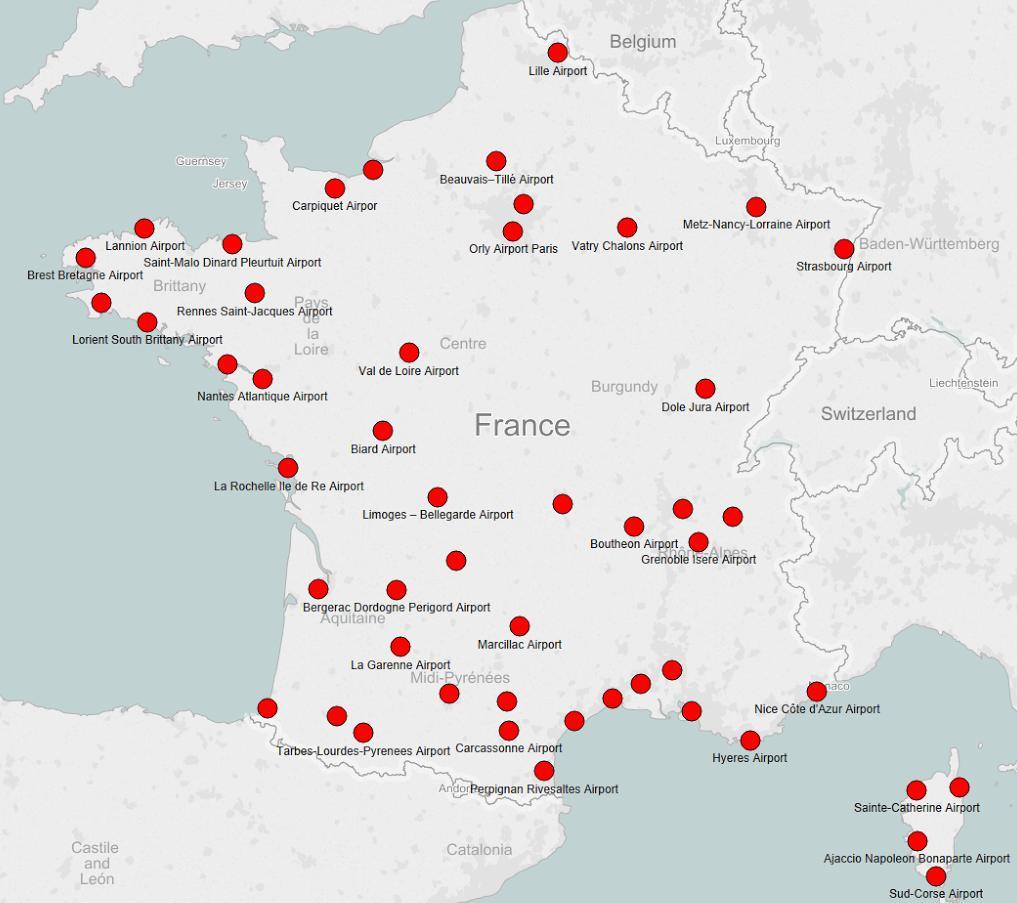 Francia aeropuerto de mapa   Mapa de Francia aeropuerto (Europa