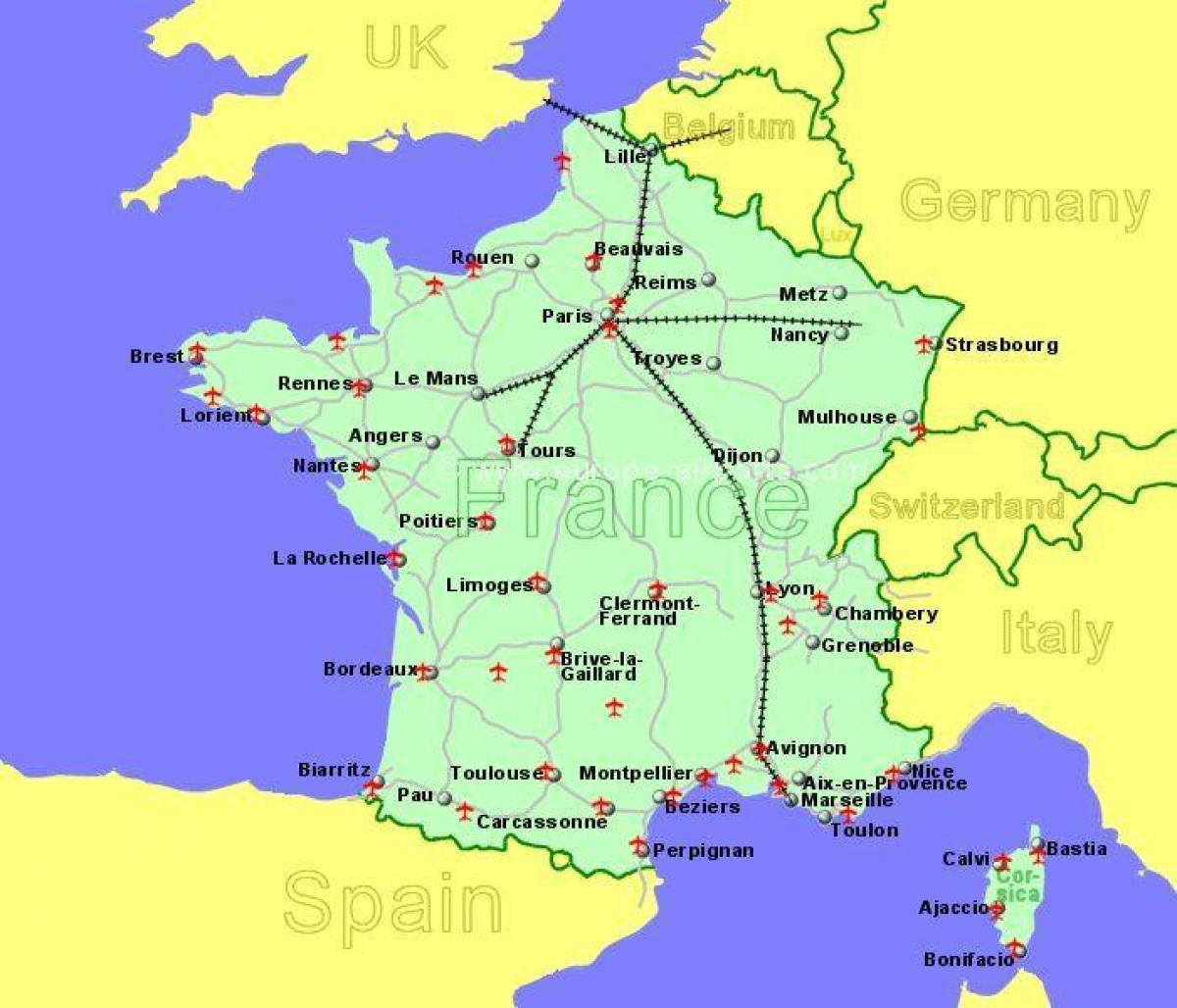 Al sur de Francia aeropuertos mapa   Aeropuertos en el sur de